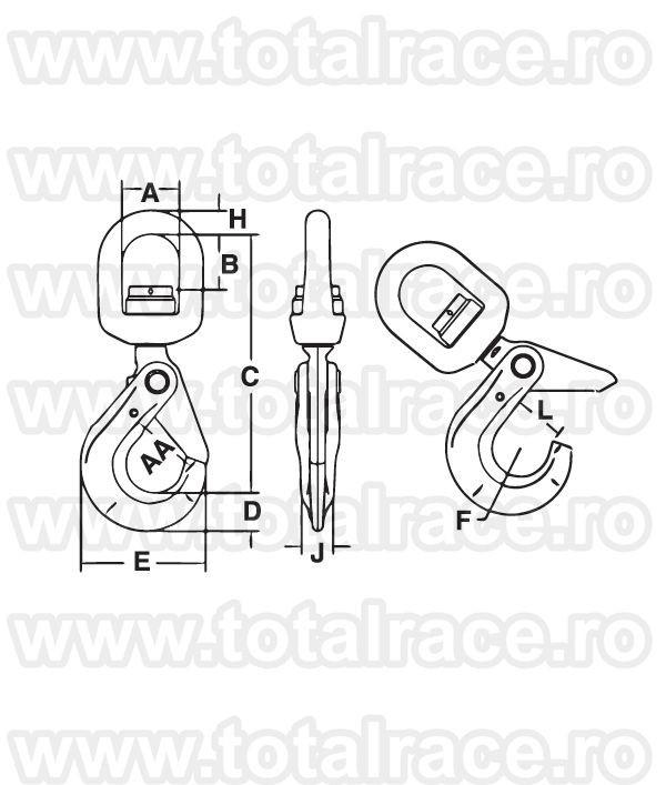 S 13326 SHURLOC® Swivel Hook with roller bearing CROSBY®