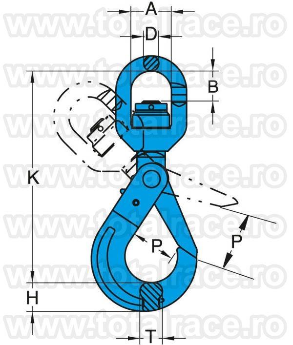 Carlig rotativ autoblocare Gr.100 X-027N