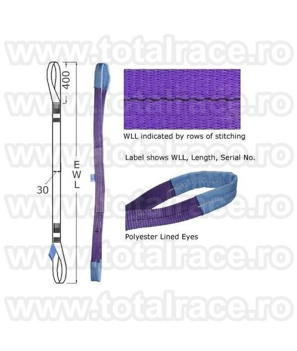 Chingi textile ridicare cu urechi model MC 50 - 1 tona 6 m