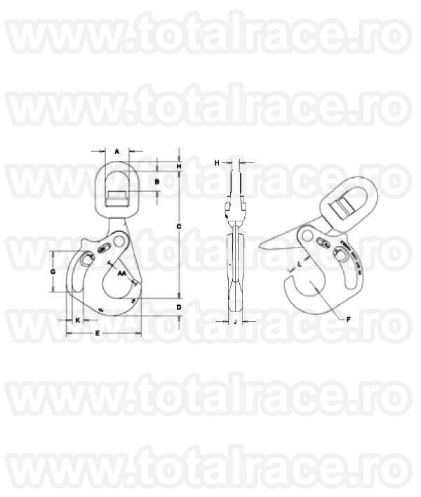 Carlig rotativ cu maner si rulment S13326AH CROSBY®