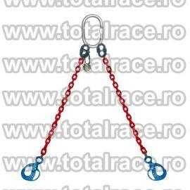 Dispozitiv de ridicare  din lant cu 2 brate carlig clevis cu autoblocare maner