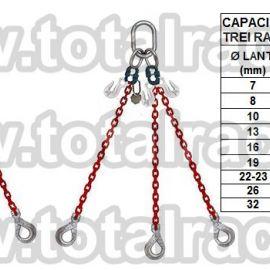 Dispozitiv de ridicare  din lant cu 4 brate carlig clevis cu autoblocare si scurtator Crosby