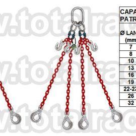 Dispozitiv de ridicare  din lant cu 4 brate carlig clevis cu autoblocare Crosby