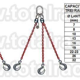 Dispozitiv de ridicare  din lant cu 3 brate carlig clevis cu siguranta Crosbye