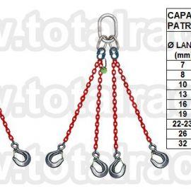 Dispozitiv de ridicare  din lant cu 4 brate carlig clevis cu siguranta Crosbye